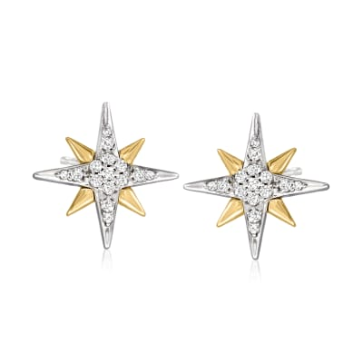.10 ct. t.w. Diamond Star Earrings in Sterling Silver and 14kt Yellow Gold