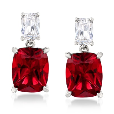 8.50 ct. t.w. Simulated Ruby and 1.10 ct. t.w. CZ Drop Earrings in Sterling Silver