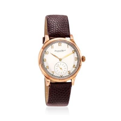 C. 1930 Vintage Iwc Schaffhausen 14kt Yellow Gold Watch with Brown Leather Strap