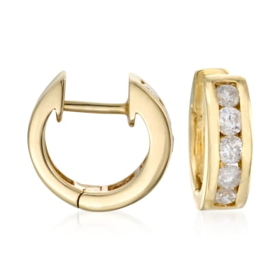 .75 ct. t.w. Diamond Hoop Earrings in 14kt Yellow Gold