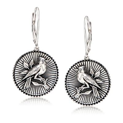 Sterling Silver Cardinal Disc Drop Earrings