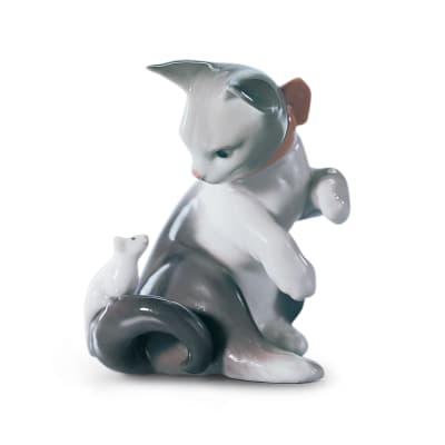 "Lladro ""Cat and Mouse"" Porcelain Figurine"