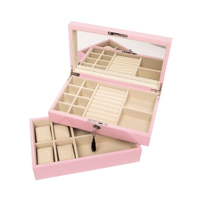 Brouk & Co. Pink Stackable Wooden Jewelry Box and Watch Tray