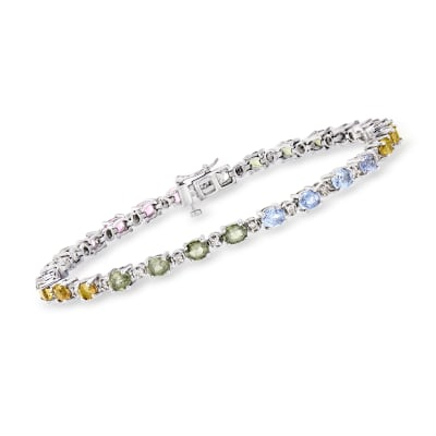C. 1990 Vintage 3.75 ct. t.w. Multicolored Sapphire and .35 ct. t.w. Diamond Tennis Bracelet in 14kt White Gold