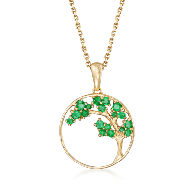 .32 ct. t.w. Emerald Tree Pendant Necklace in 14kt Yellow Gold