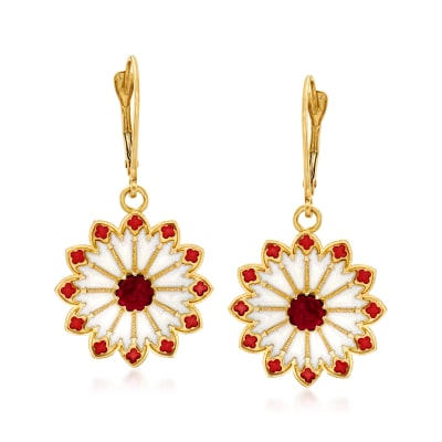 Italian 1.20 ct. t.w. Garnet and Enamel Rose Window-Inspired Drop Earrings in 14kt Yellow Gold