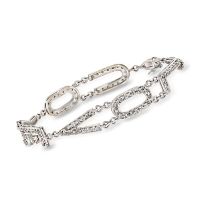 "C. 1980 Vintage .60 ct. t.w. Diamond ""I Love You"" Bracelet in 18kt White Gold"