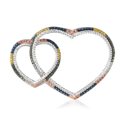 .36 ct. t.w. Multicolored Diamond Double Heart Pin in Sterling Silver and 18kt Gold Over Sterling