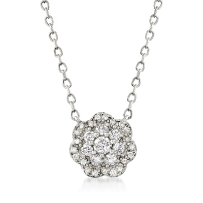 .20 ct. t.w. Diamond Floral Necklace in 14kt White Gold