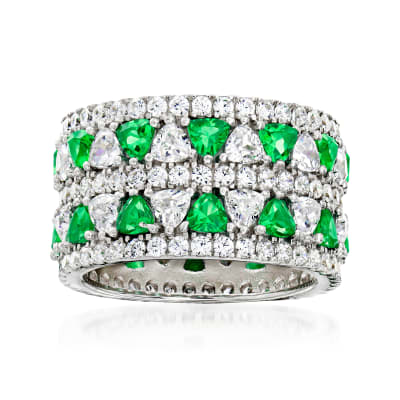 2.70 ct. t.w. CZ and 1.10 ct. t.w. Simulated Emerald Eternity Ring in Sterling Silver