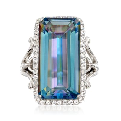 19.00 Carat Blue Quartz and 1.10 ct. t.w. White Topaz Ring in Sterling Silver