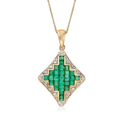 1.60 ct. t.w. Emerald and .18 ct. t.w. Diamond Pendant Necklace in 14kt Yellow Gold