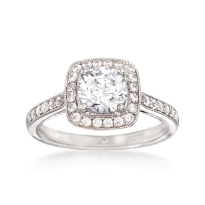 Gabriel Designs .48 ct. t.w. Diamond Engagement Ring Setting in 14kt White Gold