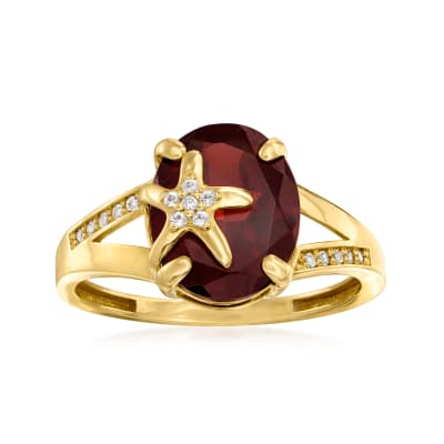 3.70 Carat Garnet and .10 ct. t.w. White Topaz Starfish Ring in 14kt Yellow Gold