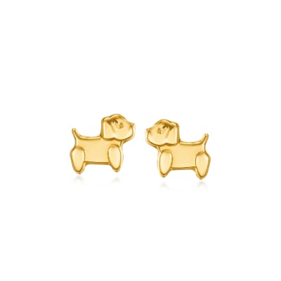 Child's 14kt Yellow Gold Puppy Earrings