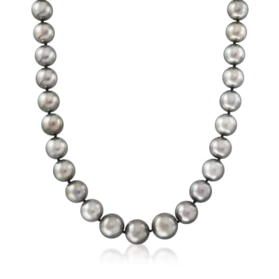 11-13.6mm Black Cultured Tahitian Pearl Necklace with 14kt White Gold