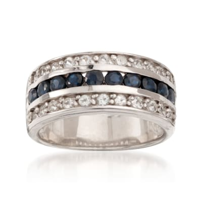 .80 ct. t.w. Sapphire and .65 ct. t.w. White Topaz Multi-Row Ring in Sterling Silver