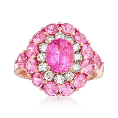 5.70 ct. t.w. Pink Sapphire and .54 ct. t.w. Diamond Ring in 14kt Rose Gold
