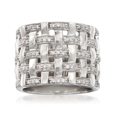 .35 ct. t.w. Diamond Basketweave Ring in 14kt White Gold