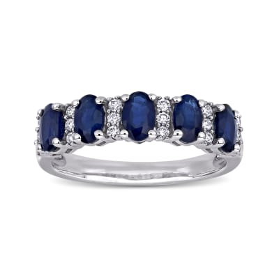 1.50 ct. t.w. Sapphire and .16 ct. t.w. Diamond Ring in 14kt White Gold