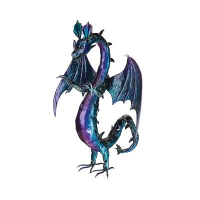 Regal Purple Serpent Dragon Metal Garden Statue