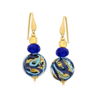 Italian Multicolored Murano Glass Bead Drop Earrings in 18kt Gold Over Sterling