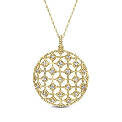 .25 ct. t.w. Diamond Milgrain Openwork Necklace in 14kt Yellow Gold