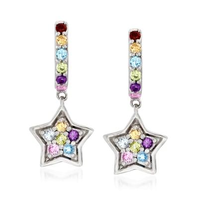 .50 ct. t.w. Multi-Gemstone Star Drop Earrings in Sterling Silver
