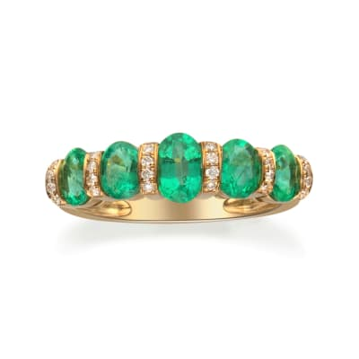 1.50 ct. t.w. Emerald and .12 ct. t.w. Diamond Ring in 14kt Yellow Gold