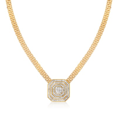 .50 ct. t.w. Diamond Cluster Necklace in 18kt Gold Over Sterling