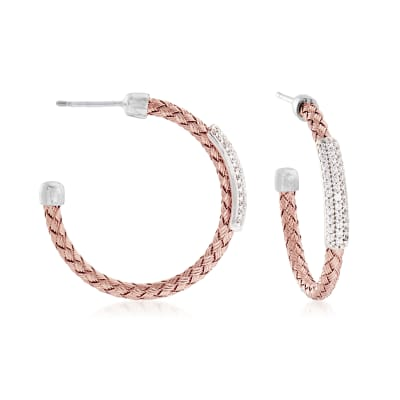 .60 ct. t.w. Pave CZ Basketweave Hoop Earrings in Sterling Silver and 18kt Rose Gold Over Sterling Silver