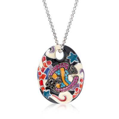 "Belle Etoile ""Under the Sea"" Multicolored Enamel and 1.86 ct. t.w. CZ Pendant in Sterling Silver"