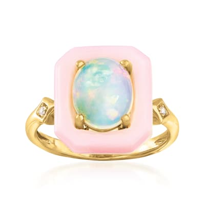 Ethiopian Opal and Pink Opal Ring with Diamond Accents in 14kt Yellow Gold