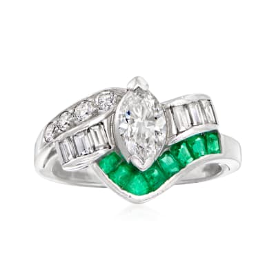 C. 1980 Vintage .95 ct. t.w. Diamond and .35 ct. t.w. Emerald Ring in Platinum