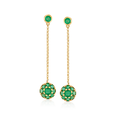 .80 ct. t.w. Emerald Floral Drop Earrings in 14kt Yellow Gold