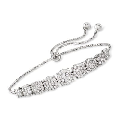 1.30 ct. t.w. CZ Graduated Bolo Bracelet in Sterling Silver