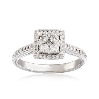 C. 1990 Vintage .65 ct. t.w. Diamond Cluster Square Ring in 14kt White Gold