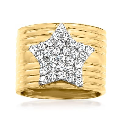 1.00 ct. t.w. Diamond Star Ring in 18kt Gold Over Sterling