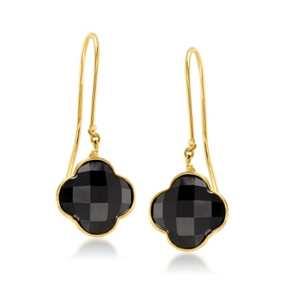 Italian Black Onyx Clover Drop Earrings in 14kt Yellow Gold