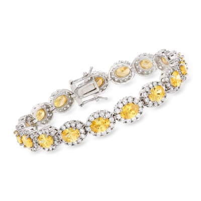 16.80 ct. t.w. Yellow and White CZ Bracelet in Sterling Silver
