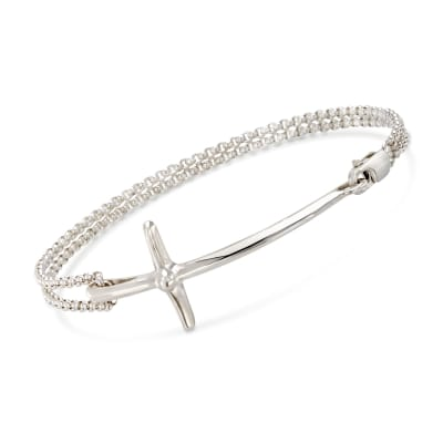 "Zina Sterling Silver ""Contemporary"" Sideways Cross Bracelet"
