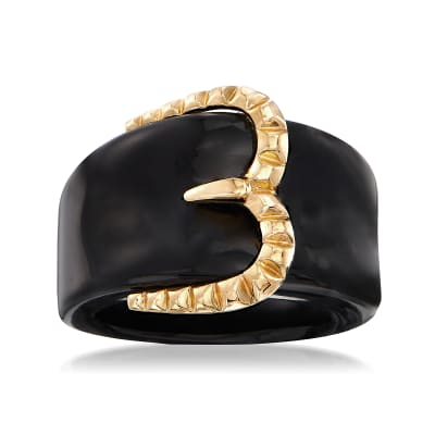 Black Onyx and 14kt Yellow Gold Buckle Ring