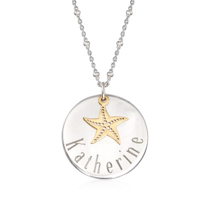 Sterling Silver Personalized Disc Necklace with 14kt Yellow Gold Starfish Charm