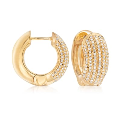 .50 ct. t.w. Diamond Multi-Row Hoop Earrings in 18kt Gold Over Sterling