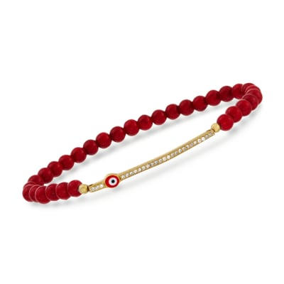 Coral and .20 ct. t.w. CZ Evil Eye Bracelet in 24kt Gold Over Sterling Silver