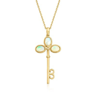 Opal Key Pendant Necklace with Diamond Accent in 18kt Gold Over Sterling