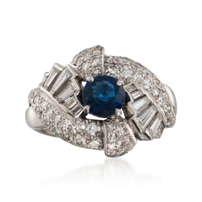 C. 1960 Vintage .95 Carat Sapphire and 1.65 ct. t.w. Diamond Ring in Platinum