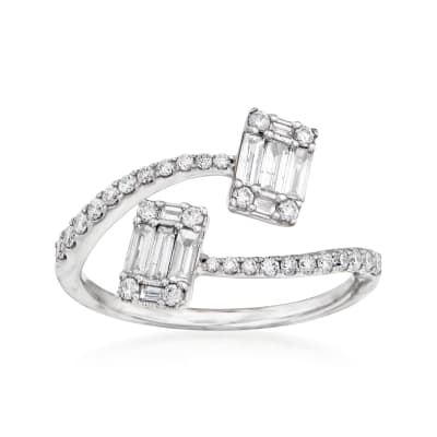 .55 ct. t.w. Diamond Bypass Ring in 14kt White Gold