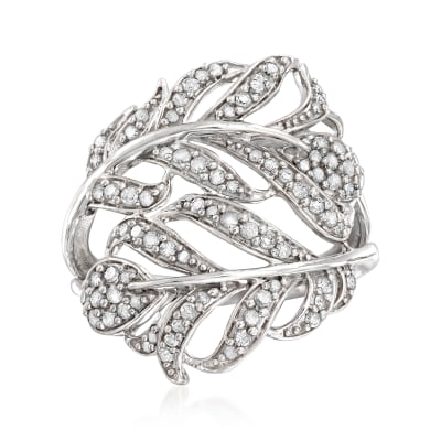 .50 ct. t.w. Diamond Feather Bypass Ring in Sterling Silver
