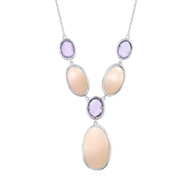 Pink Mother-Of-Pearl and 5.30 ct. t.w. Amethyst Y-Necklace in Sterling Silver